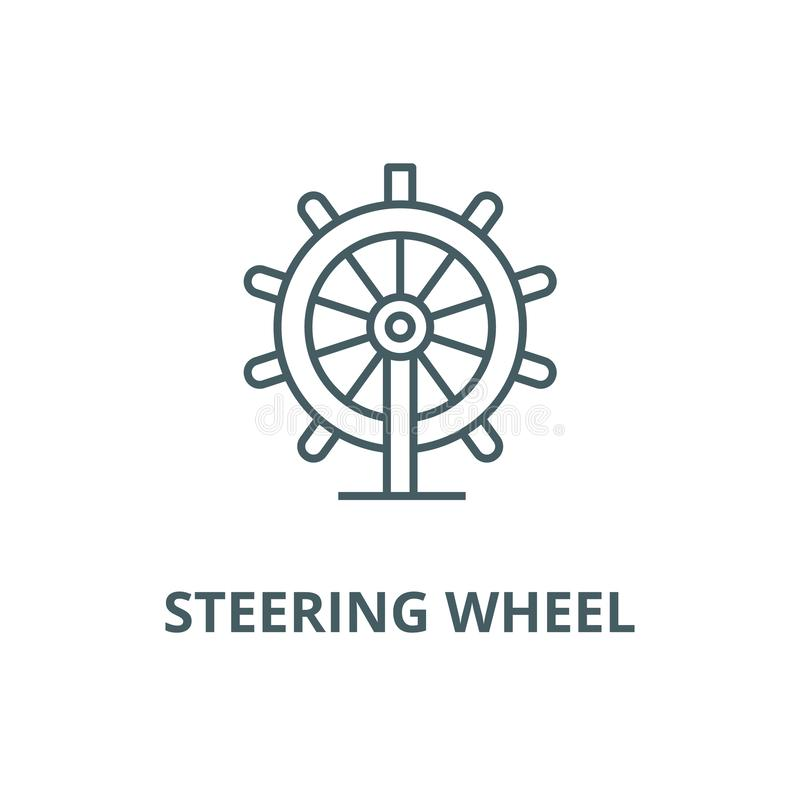 Business steering wheel line icon, vector. Business steering wheel outline sign, concept symbol, flat illustration. Business steering wheel line icon, vector vector illustration