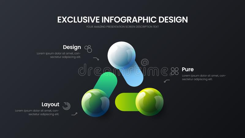 Business 3 step infographic presentation vector colorful balls illustration. Corporate marketing analytics report design layout. Business 3 option infographic stock illustration