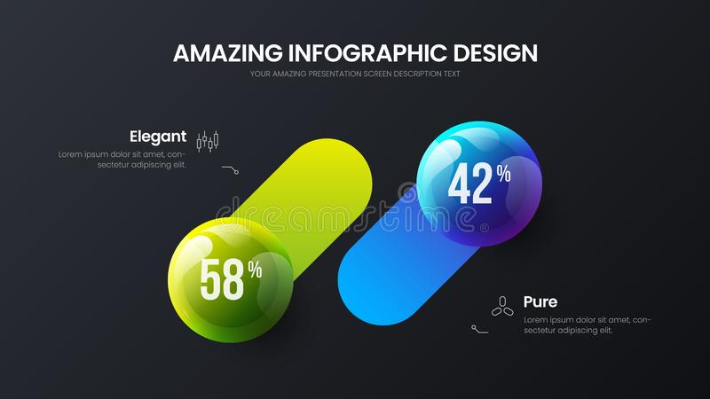 Business 2 step infographic vector balls illustration. Company marketing analytics data report design layout. Business 2 option infographic presentation vector vector illustration