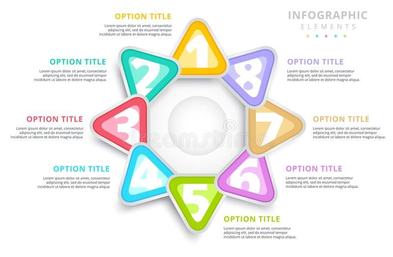 Business 8 step process chart infographics with triangles. Triangular corporate graphic elements. Company infograph presentation vector illustration