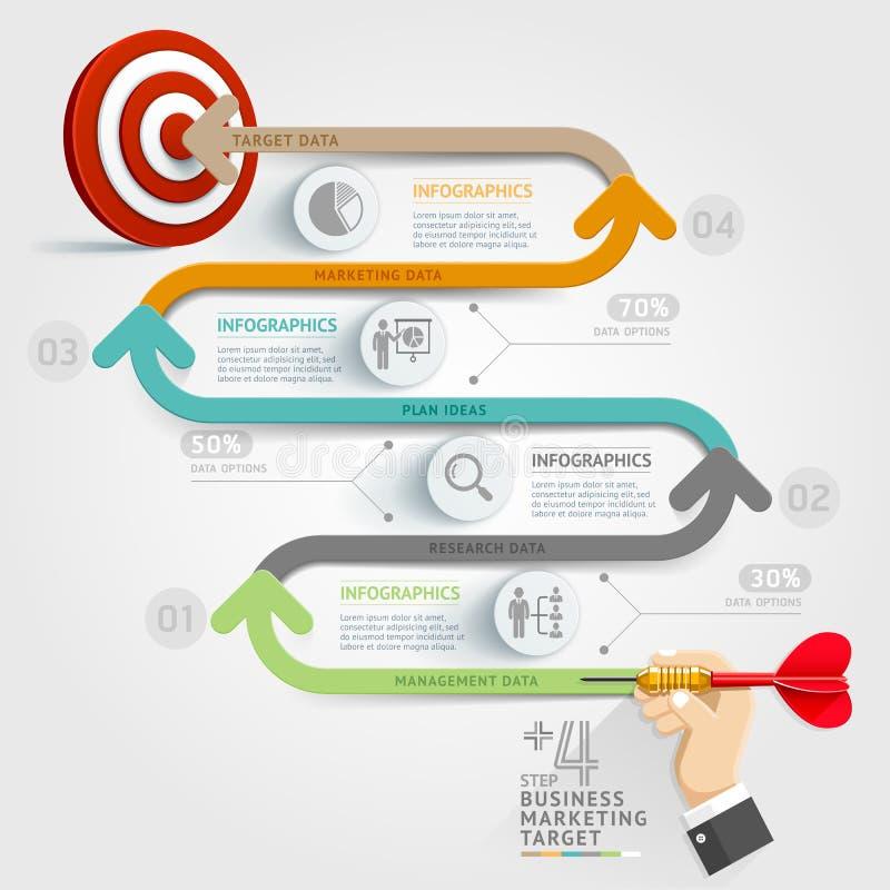 Business step target marketing dart idea. vector illustration