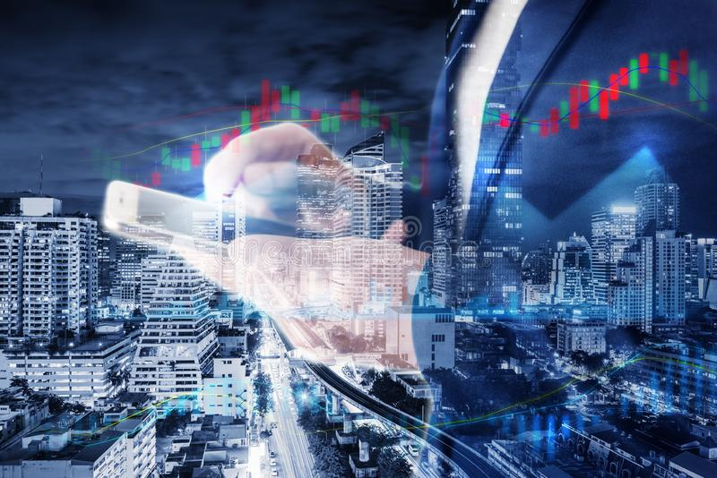 Business Stock Investment and Technology Telecommunication Communication Network Connection Concept, Double Exposure of City and royalty free stock image