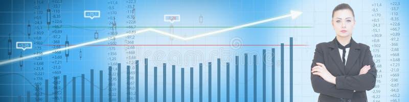 Business stock market blue background stock image