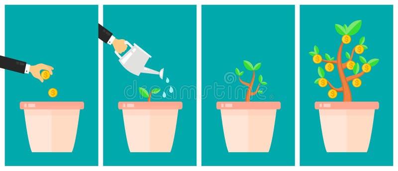 Business strategic asset allocation concept. Money tree flat design cartoon vector illustration. Business start up idea. Financial growth process timeline stock illustration