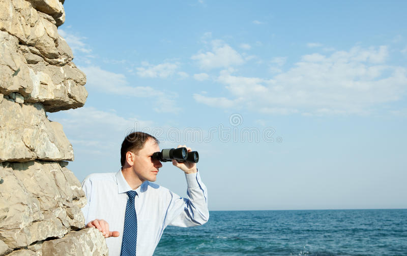 Business strategy. Businessman realizing aggressive business strategy stock photos