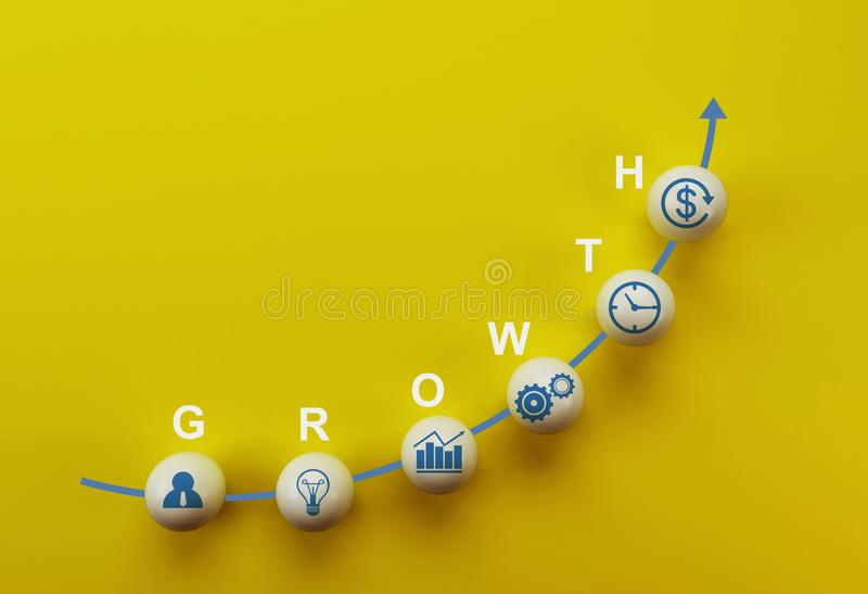 Business strategy and action plan, business success growing growth increase up concept. white sphere with word GROWTH on yellow ba vector illustration
