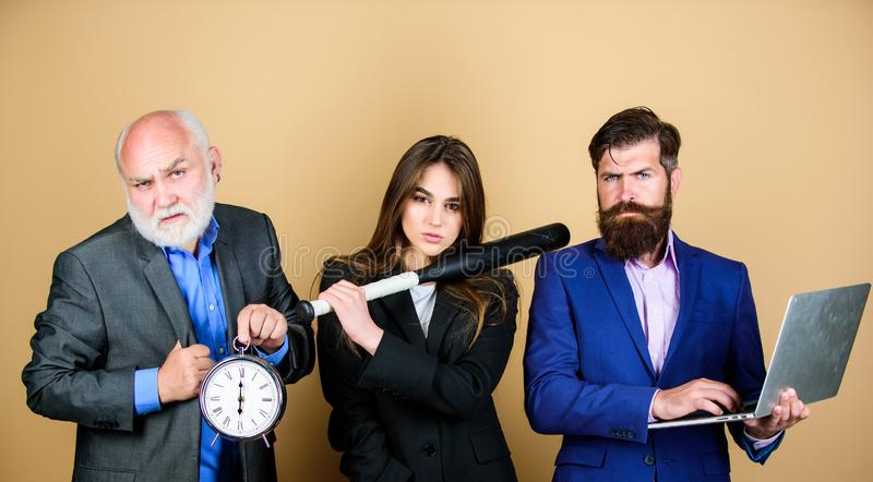 Business strategy. Aggressive business. Expert team. Men bearded manager show financial report laptop. Woman and guy royalty free stock images