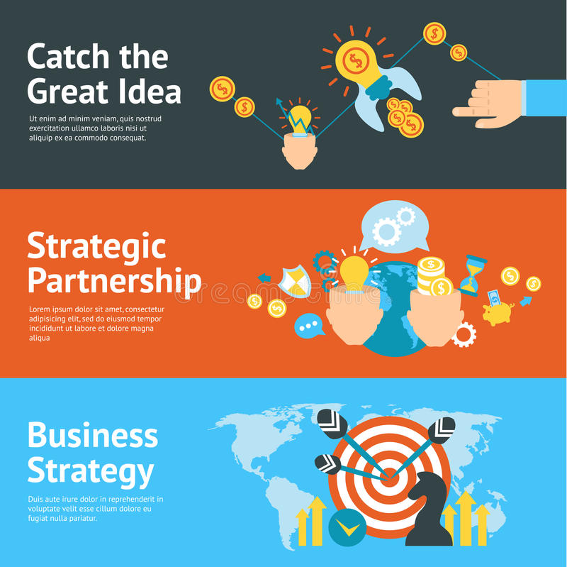 Business strategy analysis concept banners set. Great ideas and strategic partnership as essential keys for successful business banners set abstract vector vector illustration