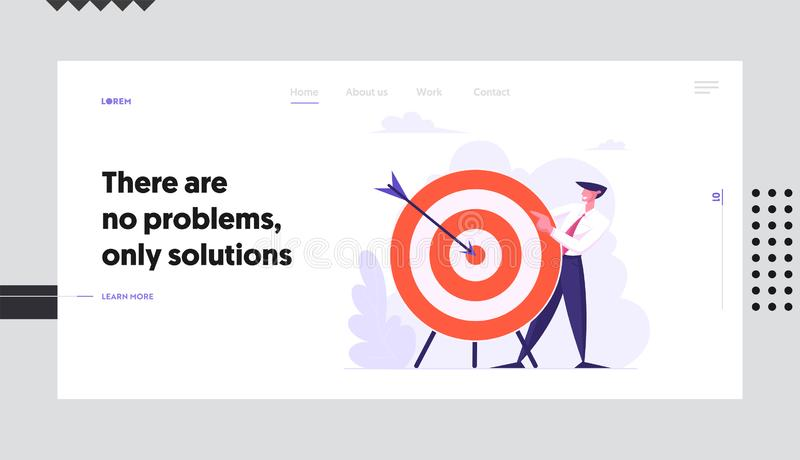 Business Strategy. Businessman Holding Target with Arrow in Center, Business Goals Achievement, Aim, Challenge. Task Solution Website Landing Page, Web Page vector illustration