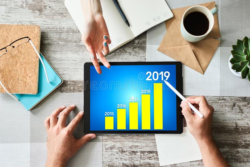 Business strategy chart on 2019 year. Financial growth concept on screen. Business strategy chart on 2019 year. Financial growth concept on screen royalty free stock photo