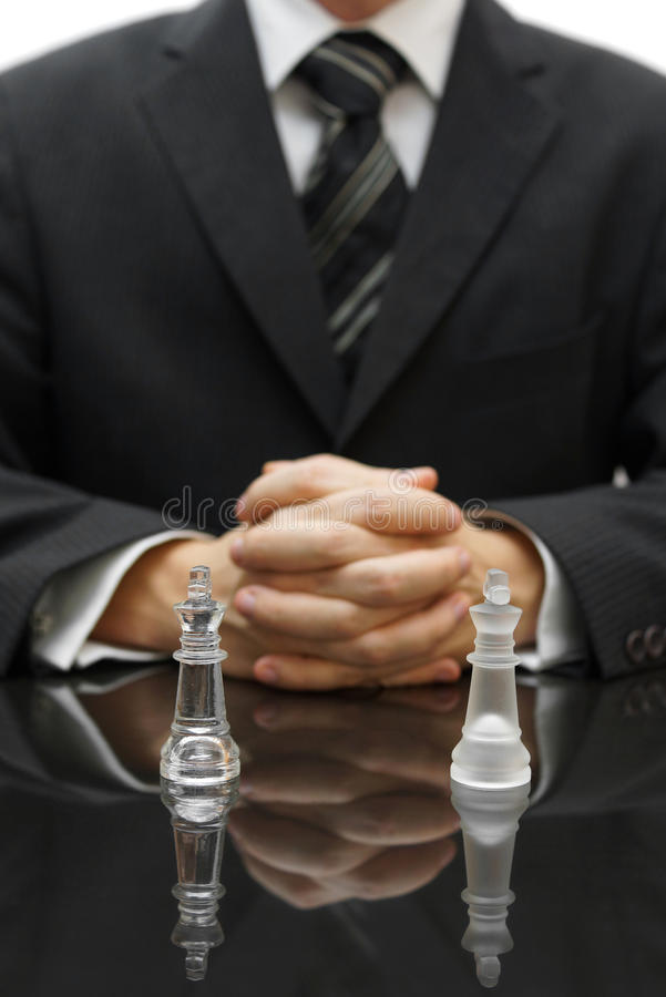 Business strategy with chess figure.  royalty free stock photo
