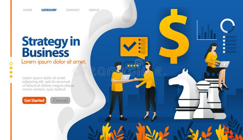 Business strategy with chess and money, marketing planning vector illustration concept can be use for, landing page, template, ui stock illustration