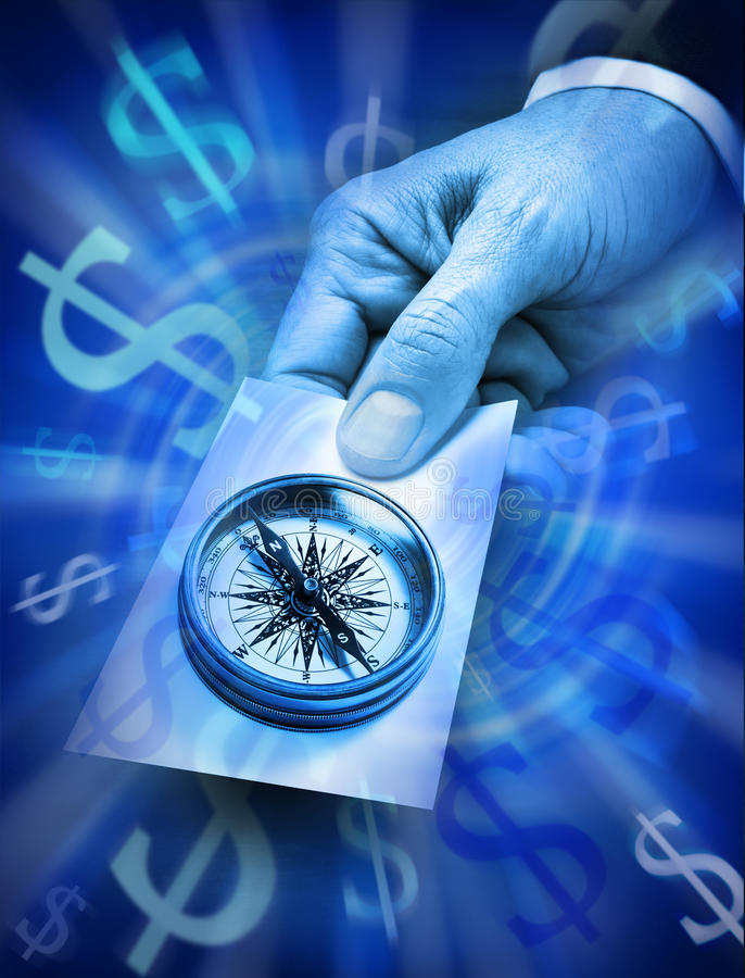 Business Strategy Compass Money Stock Photo