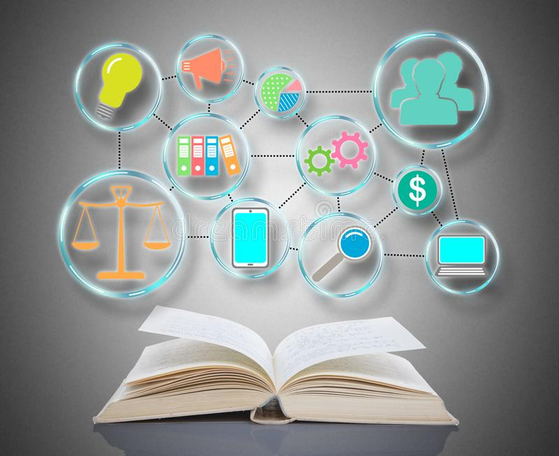 Business strategy concept above a book. Business strategy concept above an open book royalty free stock photos