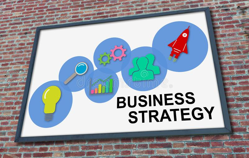 Business strategy concept on a billboard. Business strategy concept drawn on a billboard fixed on a brick wall stock photography