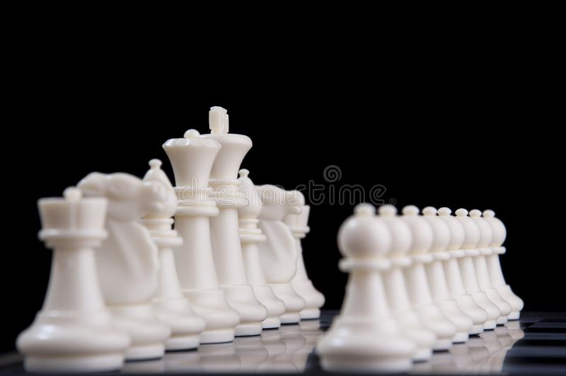 Business strategy concept on black background. Start up business planning Strategy idea with chess game. 32 royalty free stock photography