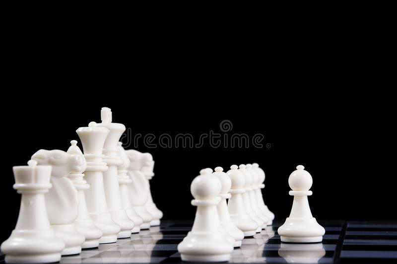 Business strategy concept on black background. Start up business planning Strategy idea with chess game. 29. Business strategy concept. Chess strategy idea on royalty free stock photo