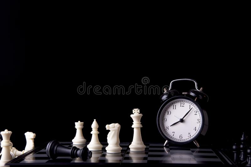 Business strategy concept on black background. Start up business planning Strategy idea with chess game. 9. Business strategy concept. Chess strategy idea on stock photos