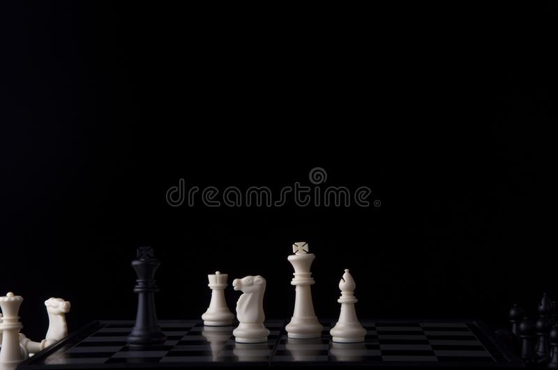 Business strategy concept on black background. Start up business planning Strategy idea with chess game. 6. Business strategy concept. Chess strategy idea on royalty free stock photos