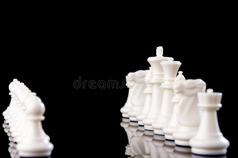 Business strategy concept on black background. Start up business planning Strategy idea with chess game. 17. Business strategy concept. Chess strategy idea on royalty free stock image
