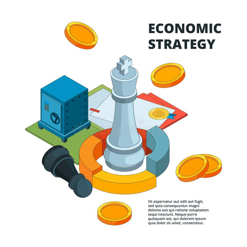 Business strategy concept. Corporate success planning and management symbols new level target chess figures vector vector illustration