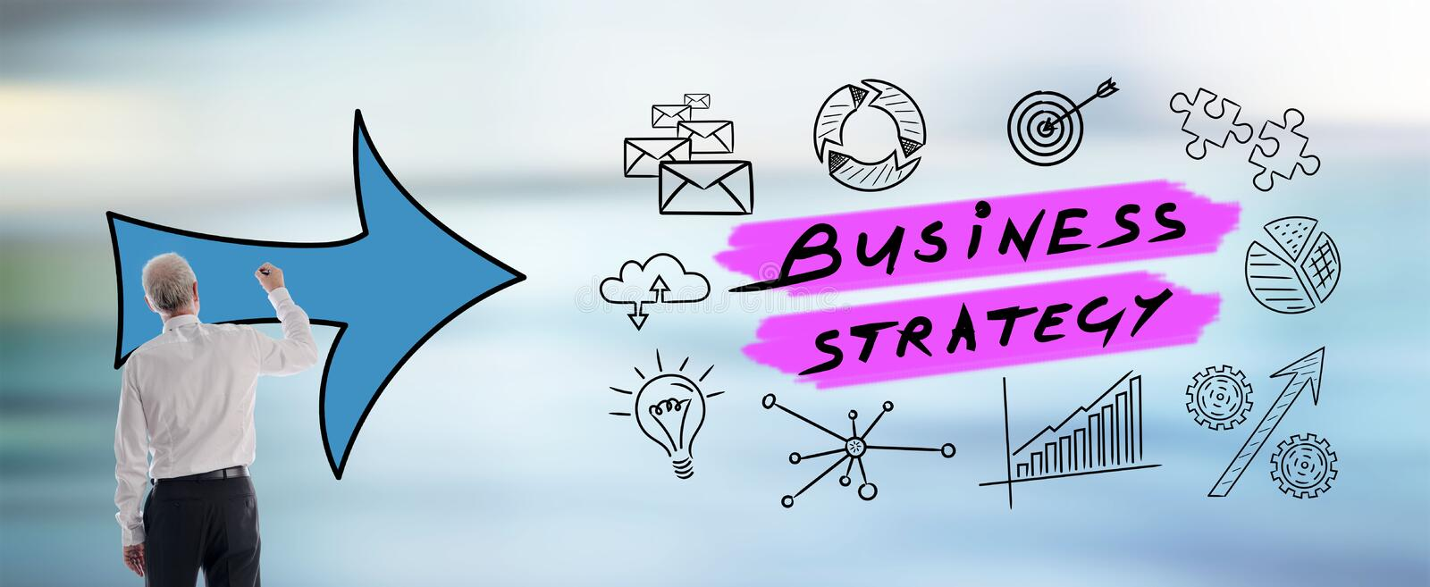 Business strategy concept drawn by a man. Business strategy concept drawn by a businessman royalty free stock images