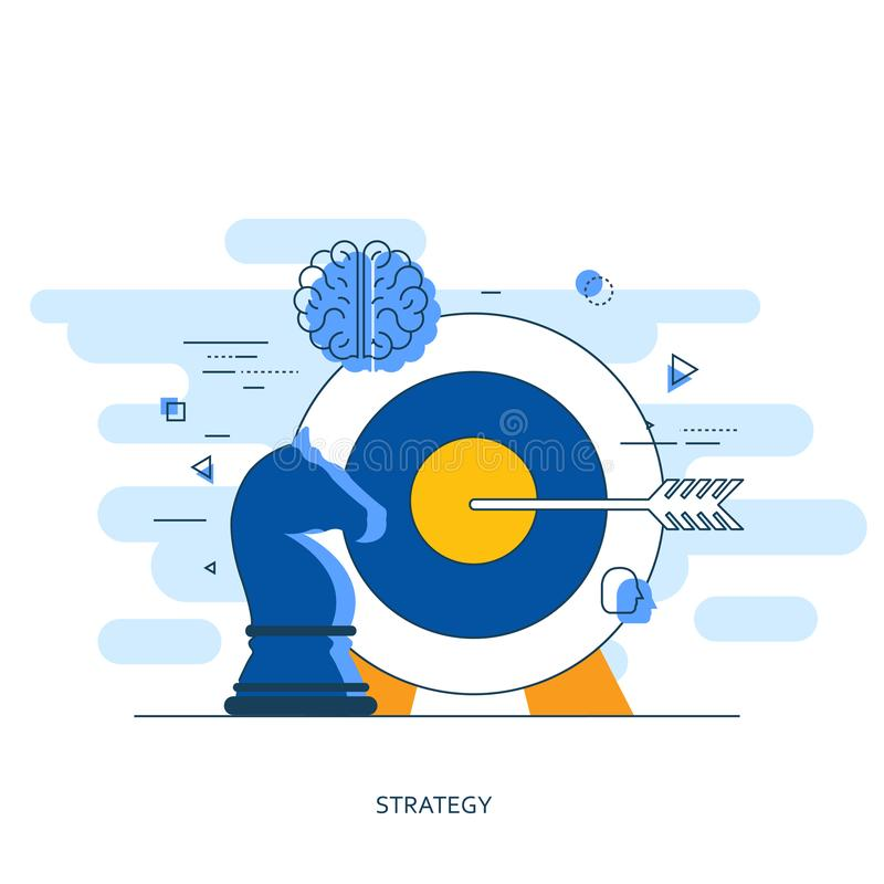 Business strategy concept. Flat illustration of targeting and management royalty free illustration