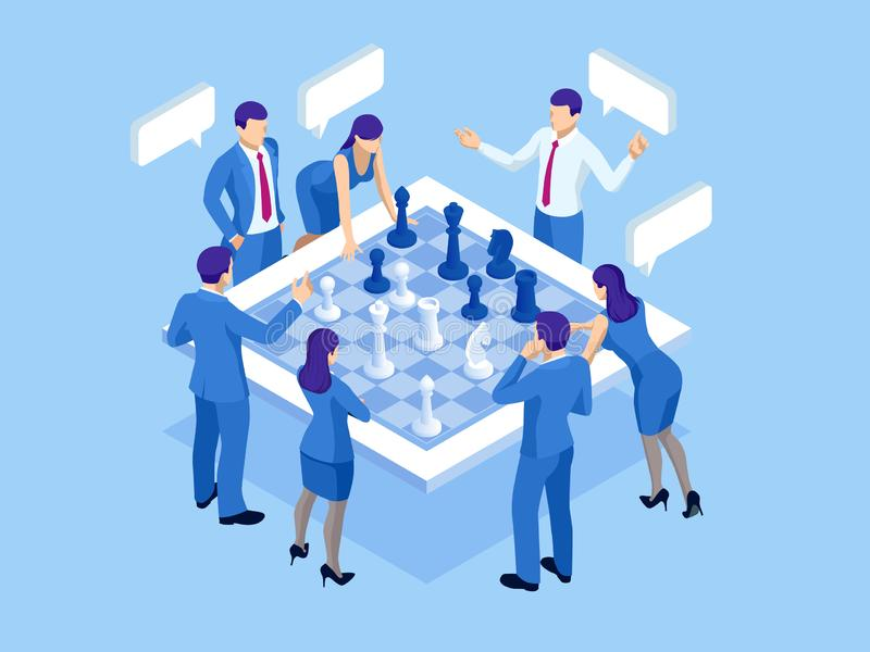 Business strategy concept. Isometric businessmen and women playing chess game reaching to plan strategy for success. Achieving goals business strategy for win vector illustration