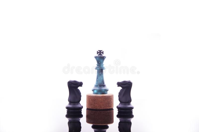 Business strategy concept on white background. Start up business planning Strategy idea with chess game. 2. Business strategy concept. King chess strategy idea stock photography