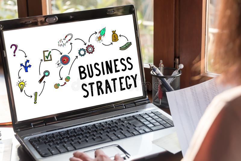 Business strategy concept on a laptop screen. Laptop screen showing business strategy concept royalty free stock images
