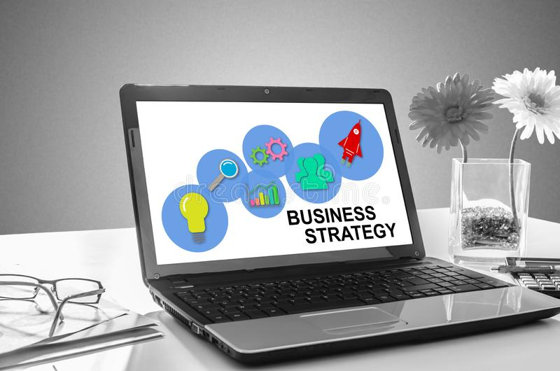 Business strategy concept on a laptop screen. Laptop screen showing business strategy concept stock photo