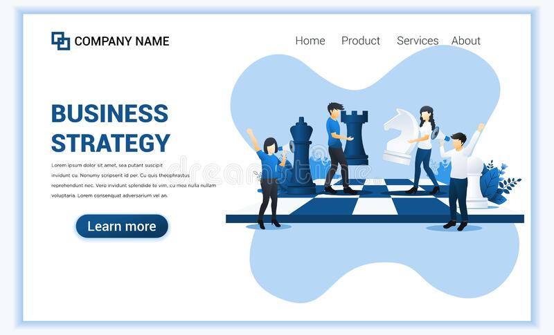 Business strategy concept with people moving chess pieces on chess board. Business metaphor, Leadership, Strategy, Business royalty free illustration