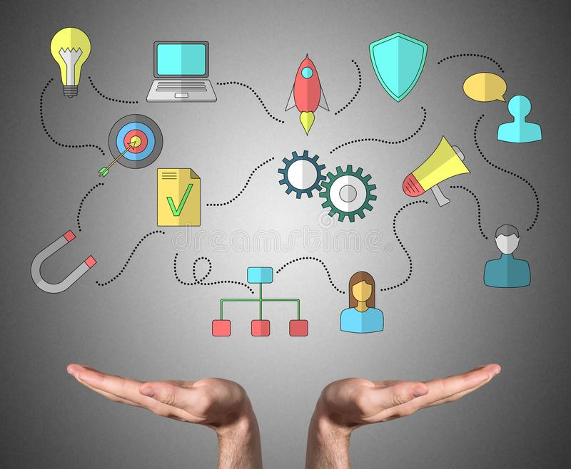 Business strategy concept sustained by open hands. Open hands sustaining business strategy concept stock images