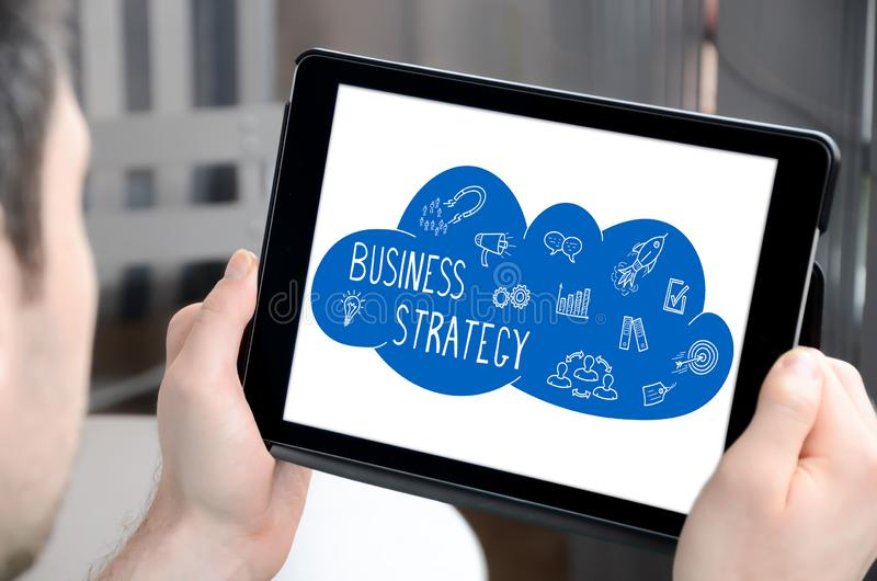 Business strategy concept on a tablet royalty free stock photos
