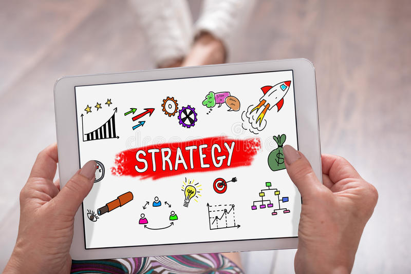 Business strategy concept on a tablet royalty free stock images
