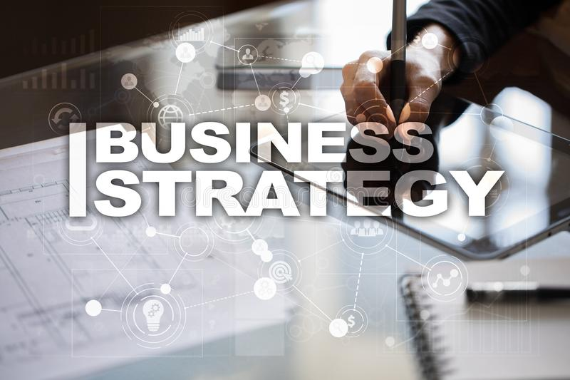 Business strategy concept on the virtual screen. Business strategy concept on the virtual screen royalty free stock image