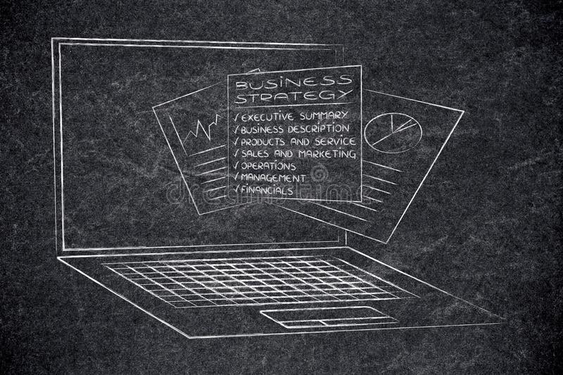 Business strategy documents popping out of laptop screen. Concept of online start-ups stock image
