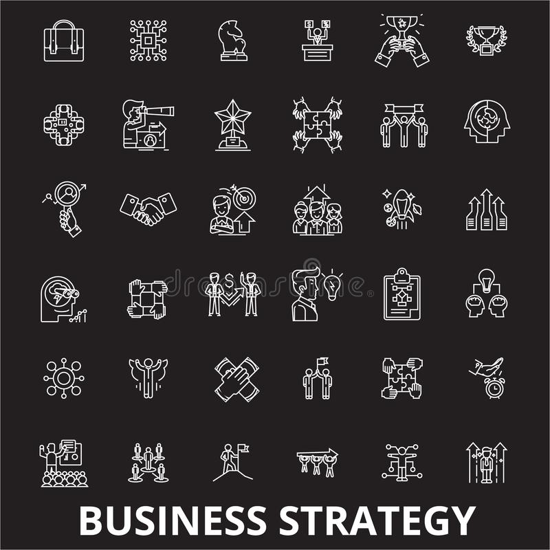Business strategy editable line icons vector set on black background. Business strategy white outline illustrations stock illustration