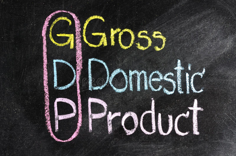 Business strategy GDP. Chart made with chalk on a blackboard stock images