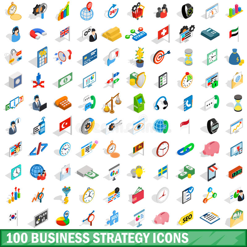 100 business strategy icons set, isometric style royalty free illustration
