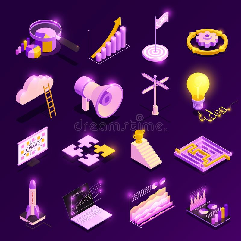 Business Strategy Icons Set stock illustration