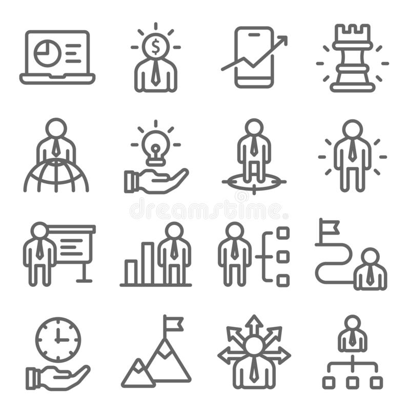 Business strategy icons set vector illustration. Contains such icon as head hunting, employee management and more. Expanded stroke. Business strategy icons set vector illustration