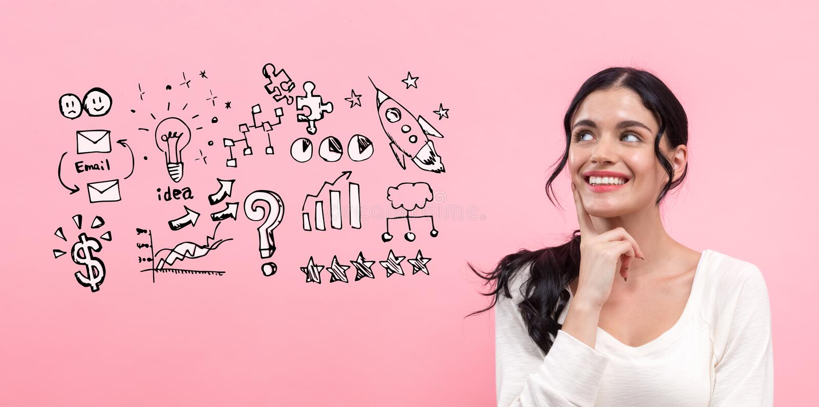 Business strategy ideas with young woman royalty free stock image
