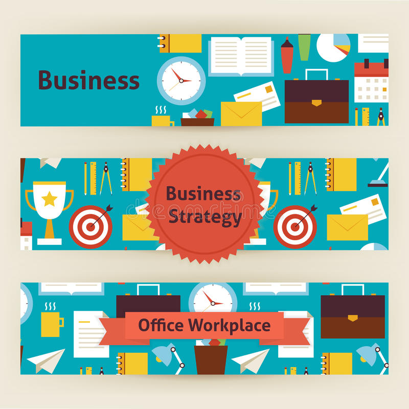 Business strategy and office workplace vector template banners s download business strategy and office workplace vector template banners s stock vector illustration of concept stopboris Image collections