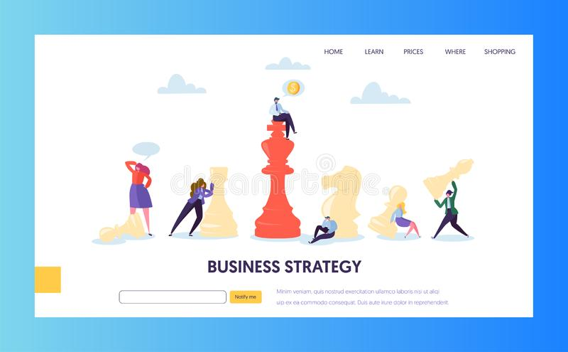 Business Strategy Plan Teamwork Landing Page. Businessman Character Play Chess. Effective Corporate Analysis Game vector illustration