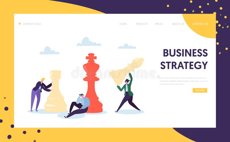 Business Strategy Plan Thinking Landing Page Businessman Character Team Play Chess. Strategic Game for Leadership Growth vector illustration
