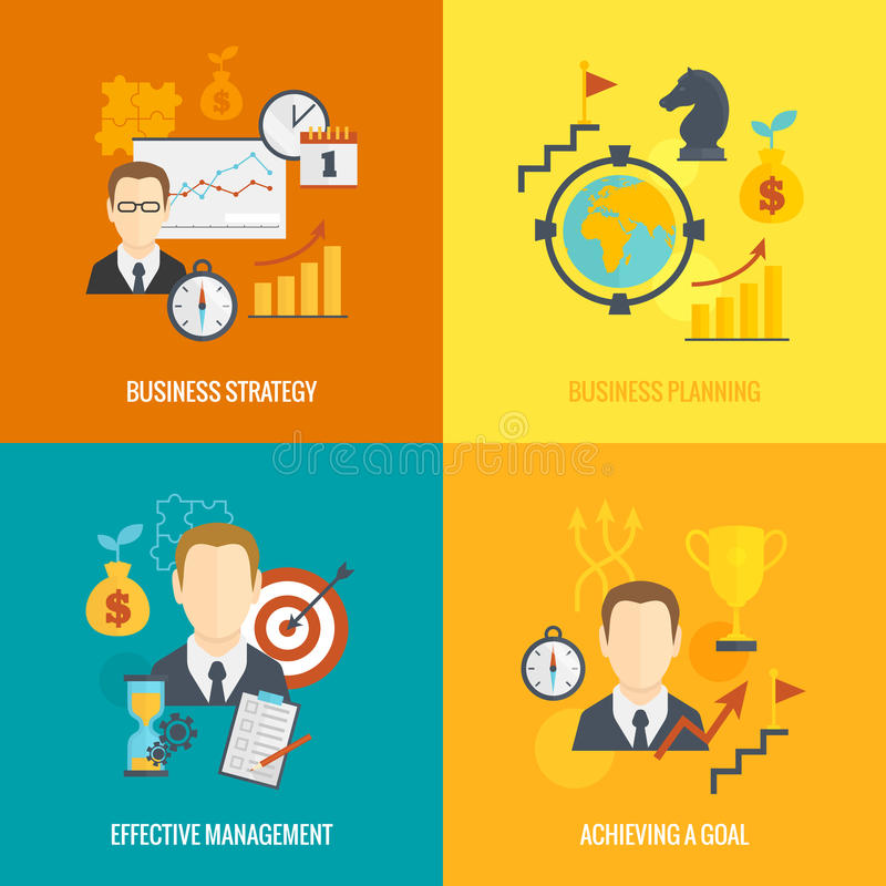 Business strategy planning icon flat royalty free illustration