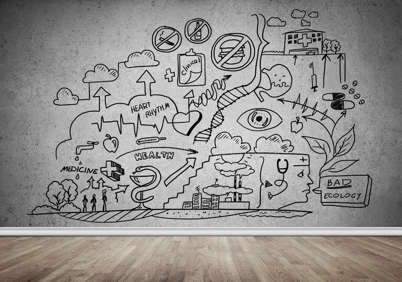 Business strategy and planning. Room interior with business sketches on wall royalty free stock image