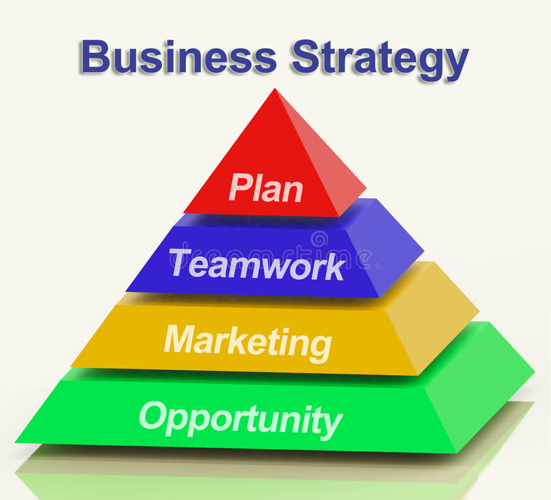 Business Strategy Pyramid Showing Teamwork And Plan. Business Strategy Pyramid With Teamwork And Plan royalty free illustration