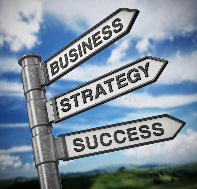 Business, strategy and success signboard against blue sky. 3D illustration.  royalty free illustration